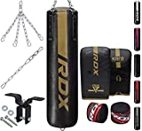 RDX 8PC Punch Bag 5ft 4ft Heavy Filled Set, Non Tear Maya Hide Leather Adult Bag with Ceiling Hook Punching Gloves Chain, KARA Patent Pending, Kickboxing Boxing MMA Muay Thai Karate Training Workout