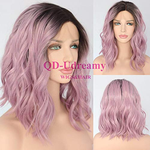 QD-Udreamy Brown Ombre Purple Short Water Wave Hair Lace Front Wigs Glueless Synthetic Hair Wigs Heat Resistant Hair Wigs for Women Daily Makeup