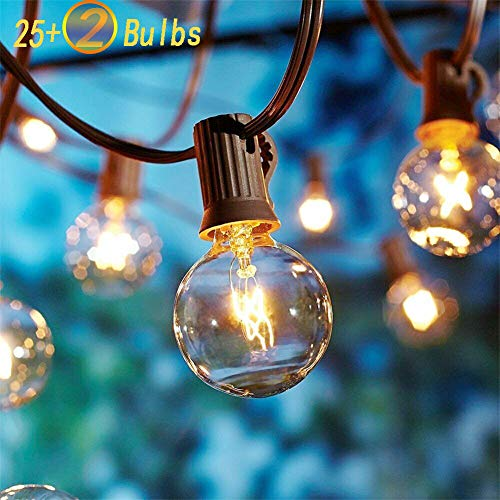 SkrLights 25Ft Outdoor String Lights with 27 Globe Clear G40 Bulbs,UL Listed Backyard Patio Hanging...