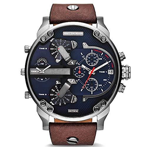 Relojes Relojes para Hombre Reloj Deportivo De Cuero Negro De Lujo Esfera Grande Hora Clásica Reloj Vintage Reloj De Pulsera Digital Militar para Hombre Marrón Gris