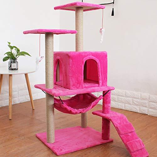 ZISITA Katzen Baum Turm Haustiere Spielen Baum Kratzbaum Arbre EIN Chat Kletter Jumping Spielzeug Rahmen Haustiere,Rot