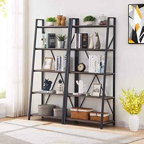 BON AUGURE Industrial Ladder Shelf, Rustic 5 Tier Leaning Bookshelf, Wood Metal Ladder Bookcase (Dark Gray Oak)