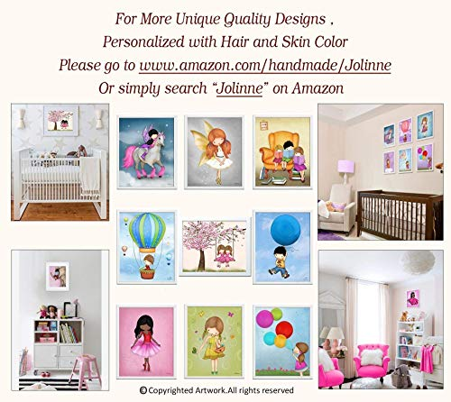 Art Prints for Girls Room Sisters Bedroom Artwork Children's Wall Decor kids Room 8x10 / 11x14 Set of 4 Unframed Posters Custom Hair and Skin Color