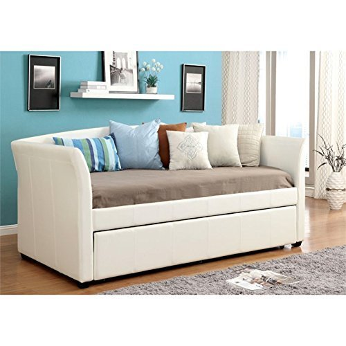 Furniture of America Alisa Modern Leatherette Daybed with with Roll-Out Trundle,...