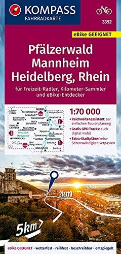 KOMPASS Fahrradkarte Pfälzerwald, Mannheim, Heidelberg, Rhein 1:70.000, FK 3352: reiß- und wetterfest mit Extra Stadtplänen (KOMPASS-Fahrradkarten Deutschland, Band 3352)