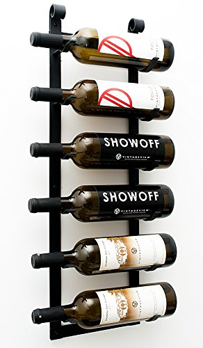 VintageView Le Rustique 6 Bottle Wall Mounted Wine Rack Stylish Modern Wine Storage with Label Forward Design (Matte Black, Set of 2)
