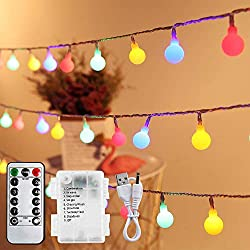 ✨[33FT Fairy Lights Battery] - 10m/33ft Long Outdoor fairy lights consist of 100 LED globes, with extra 3m/10ft leading wire, IP44 waterproof string and bulbs, can easily wrap around your gazebo, garden, porch, caravan awning, shed, Christmas tree, e...