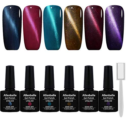 Allenbelle Soak Off Magnetic Gel Nail Polish Cat Eye Gel Polish Need UV LED Lamp To Dry (Lot of 6pcs 7.3ML/pc,magnet as gift)