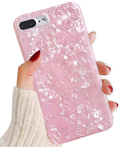 J.west iPhone 8 Plus Case/iPhone 7 Plus Case, Cute Ultra Thin [Tinfoil Series] Macaron Color Bling Lightweight Soft TPU Case Cover for iPhone 7 Plus / 8 Plus (Pink)
