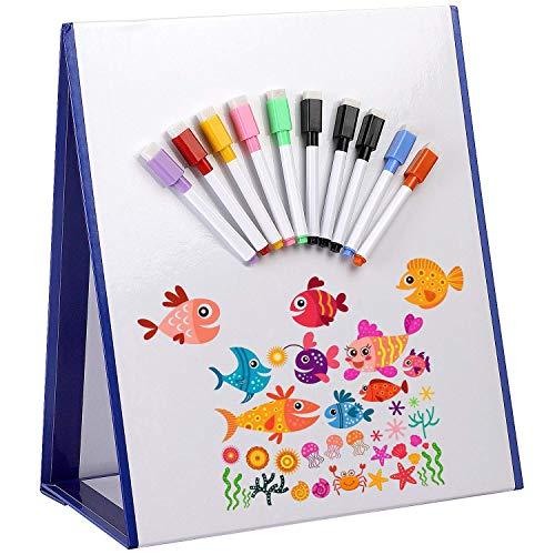 Tablero magnético de borrado en seco de 15 x 13 pulgadas, caballete para niños con pizarra magnética, paquete de 10 marcadores de borrado en seco, caballete de mesa, tablero magnético de dibujo de do