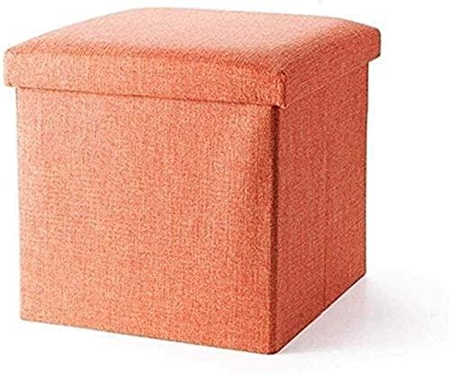 HFTD Taburetes y otomanos Taburete para sofá Taburete de Madera Asiento de Banco - Caja de Almacenamiento Plegable Asiento de Lino Banco de Zapatos Acolchado para Cambio (Color: Naranja, Tamaño: