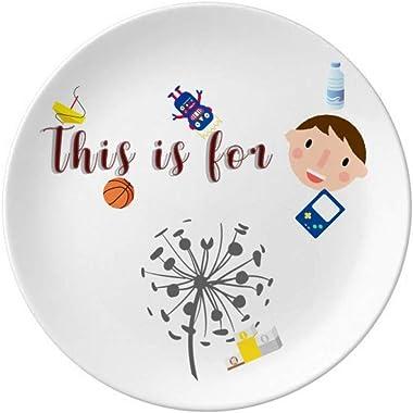 DIYthinkerFlowers Dandelion Outline Plants Porcelain Plate Dinner Round Dish Boy Man