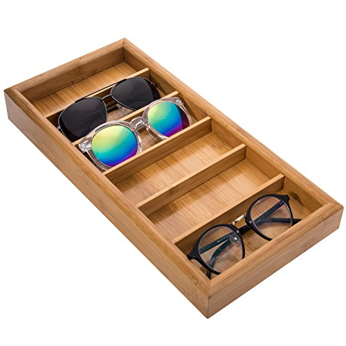 MyGift Modern Bamboo 6-Slot Sunglasses Storage Case/Eyewear Display Tray