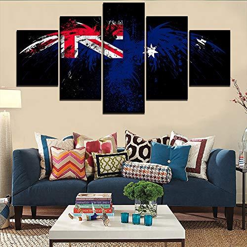 wangpdp Leinwand Gedruckt Bilder Für Wohnzimmer Poster Modulare Rahmen 5 Stücke Flagge Von Australien Gemälde Hause Dekorative Wandkunst
