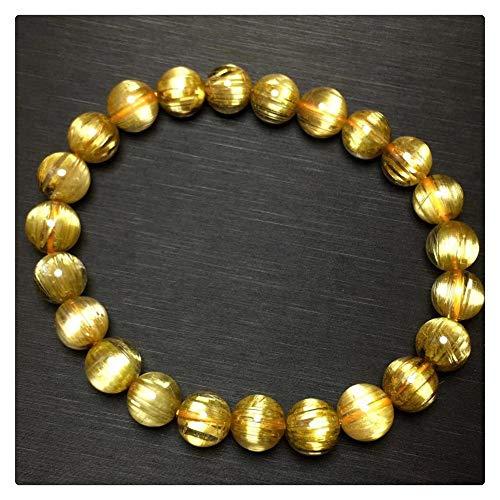 DUOVEKT Pulsera de cuarzo de titanio rutilado de 8 mm de oro natural para mujeres y hombres con cuentas redondas de cristal elástico AAAAAA