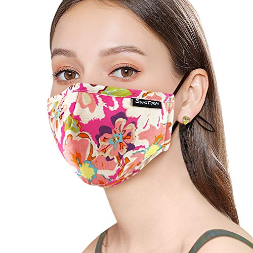 Sunsturm Dust Mask Reusable Cotton Face Mouth Mask with Activated Carbon Filter for Gardening Woodworking Mowing Outdoor Washable Mouth Mask (Color 7)