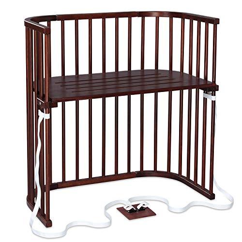 Cododo babybay Boxspring en bois de hêtre massif I Hauteur réglable en continu pour le lit d'enfant lit bébé réglable et écologique qui grandit avec l'enfant, laqué brun foncé