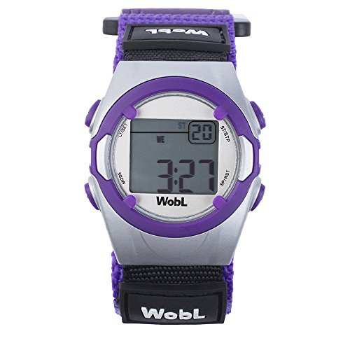 WobL Vibrating 8-Alarm & Repeating Countdown Timer Watch for Kids & Adults, Medication/Sports/Meetings/Potty Reminders, Purple
