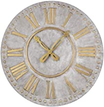 Ganz CB173892 Greywash and Gold Wall Clock with Ornate Hands, 36-inch Diameter