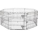 Amazonベーシック ペット 犬用 エクササイズフェンス プレイサークル 折りたたみ可能 金属製 ゲート付き 152 x 152 x 61cm