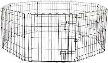 Amazon Basics Enclos pliant en métal avec porte pour chiens et animaux domestiques 152,4 x 152,4 x 60,9cm