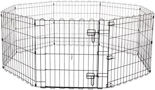 Amazon Basics - Recinzione in metallo per cani, pieghevole, per l'esercizio, 152,4 x 152,4 x 60,9 cm