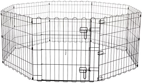 Amazon Basics – Faltbares Metall-Gehege mit Tor, für Haustier, Hund, Trainingszaun, 152,4 x 152,4 x 60,9 cm