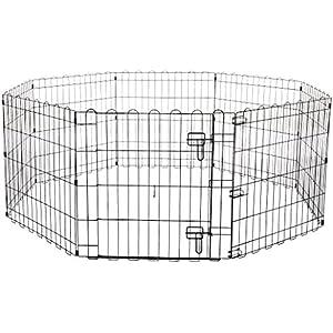 Amazon Basics Foldable Metal Pet Dog Exercise Fence Pen With Gate – 60 x 60 x 24 Inches