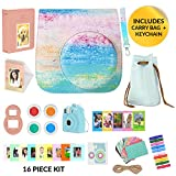 Fujifilm Instax Mini 9 Camera Accessories Bundle, Rainbow Mist Instax Mini Case + Strap 16 Pc Kit Includes: 2 Photo Albums, Accessory Bag, 3D Keychain Selfie Lens, Color Filters, 60 Stickers, Gift Set