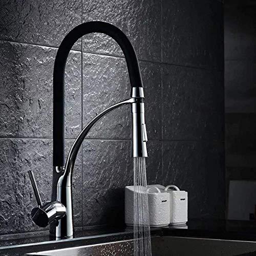 DJY-JY Grifo de lavabo negro grifo de mezcla grifo de cocina grifo de primavera grifo europeo fregadero giratorio cocina caliente y frío baño grifos (color: negro)