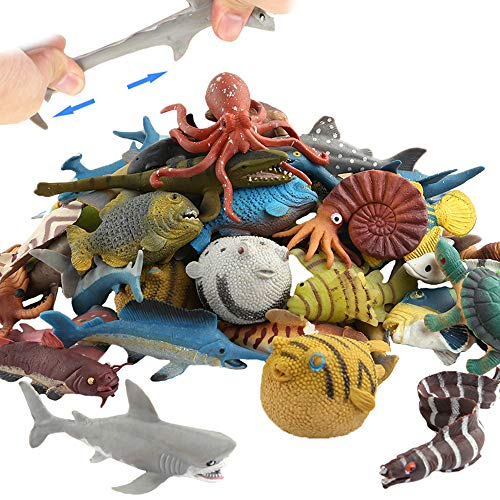 Ocean Sea Animal 18 Pack Rubber Bath Toy Set Food Grade Material TPR Super Stretchy  Some Kinds Can Change Colour ValeforToy Squishy Floating Bathtub Toy Figure Party Realistic Shark Octopus Fish