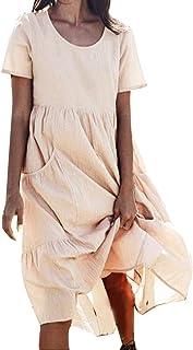 214282ce4a046c Donna Senza Maniche Abito Estivo Tinta Unita Vestito Vestiti Donna Eleganti  Estivi Breve Canotta Vestito Abito