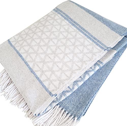 Manta de algodón a rayas, manta con flecos, 140 x 200 cm, manta de algodón, manta para el salón, colcha para el sofá (azul, gris claro y blanco)