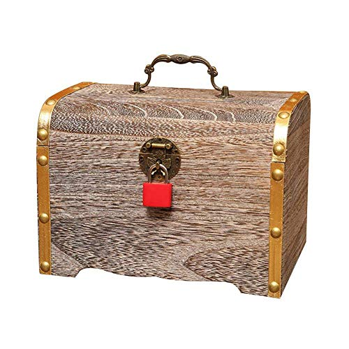 QUUY Cofre del Tesoro de Madera, Retro Pirata Cofre del Tesoro, Caja de Almacenamiento con candado y Mango, Multifuncional, Caja de Madera Fina Creativa para Joyas, Dinero, Documentos, pequeño