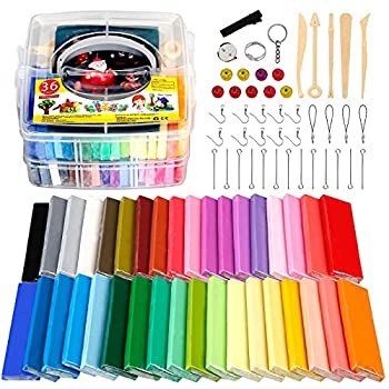 Polymer Clay Starter Kit CiaraQ 36 Colors Oven Bake Modeling Clay DIY Craft Clay with 5 Sculpting Tools Accessories and Storage Box.