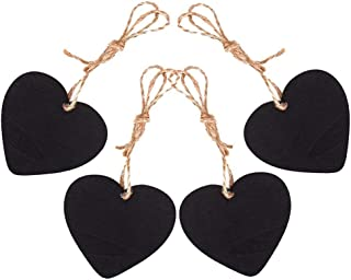 Eyech 15Pcs Mini Heart Shaped Chalkboard Signs with Hanging String Double-Sided Message Board for Wedding Birthday Party Decoration