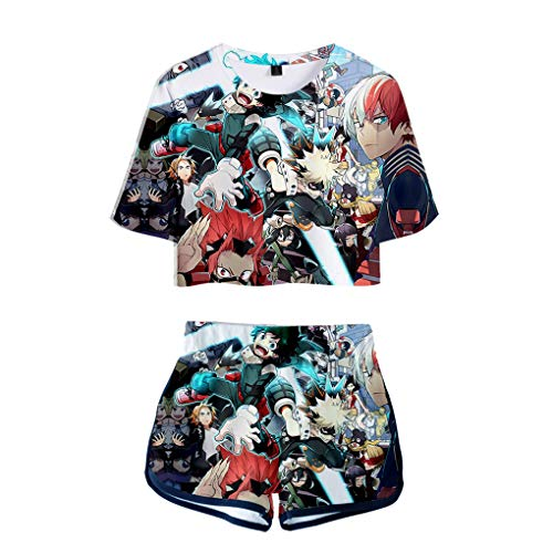 Memoryee Anime 3D Boku No Hero Academia imprimiendo Camisetas y Shorts Tops de Ropa Traje de Dos Piezas para niñas y Mujeres Ropa Deportiva de Verano Suit 2 M