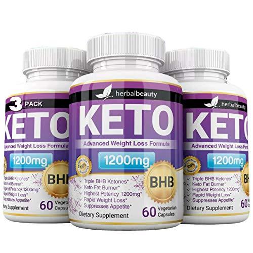 Pack of 3 Keto BHB 1200mg Pure Ketone 180 Capsules (Pills) Advanced Weight Loss -Natural Ketosis Fat Burner Using Ketone & Ketogenic Diet, Boost Energy, Burning Fat, Fast & Effective for Men & Women