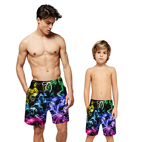 Sneldrogende Zwembroek for mannen Fashion Digital Printing rechte buis Loose Loose Ouder-kind Shorts Leisure Surfing Beach Shorts (Color : EEN, Size : Adult-XL)