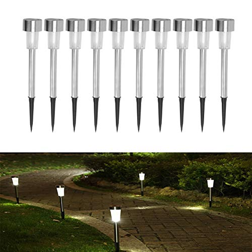 Xpork Solar Garden Lights Outdoor 10 Pack Stainless Steel Solar LED Path Lights Outside Waterproof Lamps for Driveway Patio Yard Garden, NO Wire Installation