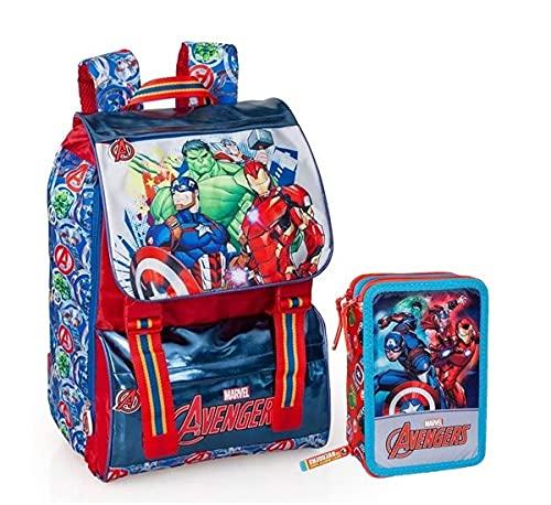 Zaino Estensibile The Avengers Marvel Scuola Borsa Tempo Libero + Astuccio Scuola The Avengers Marvel MULTISCOMPARTO 3 Zip PORTACOLORI PENNARELLI Giotto