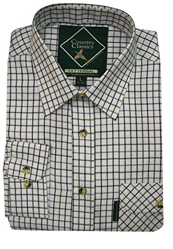 Country Classics–Hombre país Check Shirt–Heavy Weight–Calidad–Fácil Cuidado, Todo el año, Color Tattersal-Blue, tamaño Small
