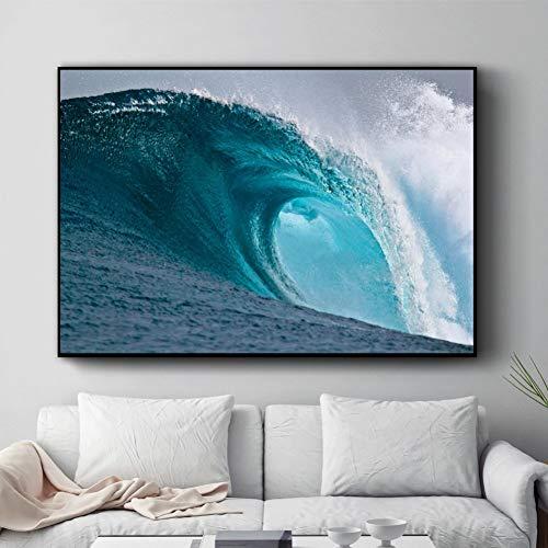 EPSMK Pintura del Arte de la Lona Olas del mar Cuadros Decorativos de Pared para Sala Lienzo Pintura Arte Carteles e Impresiones decoración para el hogar 20x28 Pulgadas