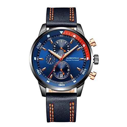 Globenfeld Chronograph Sportuhr für Männer - Blaues dreifach funktionales analoges Display mit Stoppuhr und Tachometer - Echtes Lederarmband & kratzfestes Glas - 5-jährige Platinumgarantie