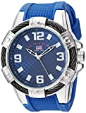 U.S. Polo Assn. Men's Quartz Watch with Rubber Strap, Blue, 23 (Model: US9681AZ)