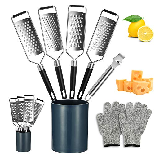 Arild Cheese GraterStainless Steel Cheese Grater with HandleZester Grater for CheeseNutmegPotatoGinger and GarlicGraters for Kitchen with Protective Gloves and Storage Tube7 PACK