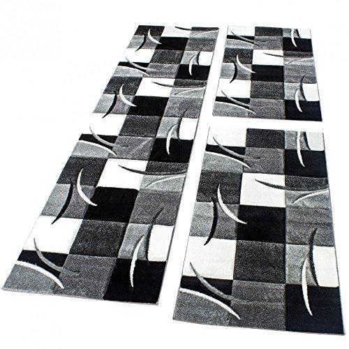 Bedomranding Loper/Vloerkleed Vloerkleed Modern Ruit Zwart Grijs Wit Loper/Vloerkleedset 3-Delig, Maat:2x 80x150 1x 80x300