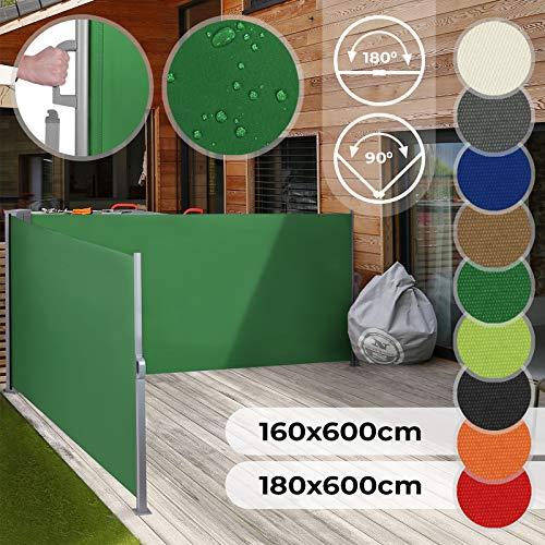 Jago Doppel Ausziehbare Seitenmarkise für Balkon Terrasse Garten - Farbauswahl/Größenauswahl 160x600cm 180x600cm - Windschutz, Sichtschutz, Seitenwandmarkise, Seitenrollo, Sonnenschutz