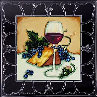 Las Ojas Red Wine Glass & Cheese - Decorative Ceramic Art Tile on Acrylic Frame - 12