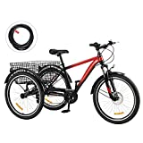 Viribus 7-Speed Adult Tricycle w Adjustable Handlebars and Seat Three-Wheel Mountain Bicycle for Men and Women Complete Beach Cruiser Trike with Basket Lights Bell for Adults (Red2, 26'/7-Speed)